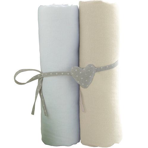Lot de 2 draps housses en coton 70x140 cm - Blanc, écru