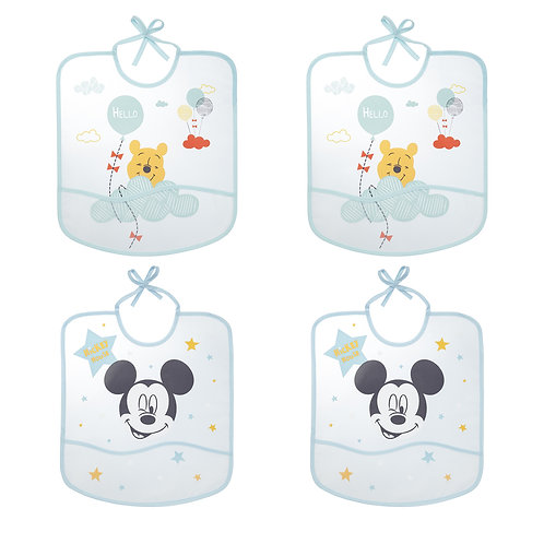 Lot de 4 bavoirs imperméables Disney Mickey & Winnie avec poche - 6 mois