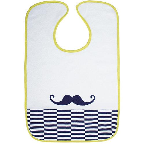 Bavoir large moustache - 18 mois