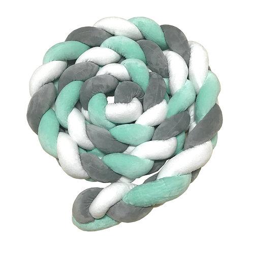 Coussin tresse 200 cm - Vert, Gris, Blanc