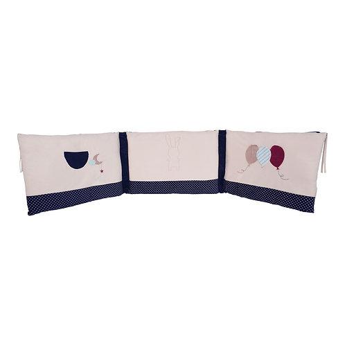 Tour de lit adaptable Philotée en velours marine - 120 à 140 cm