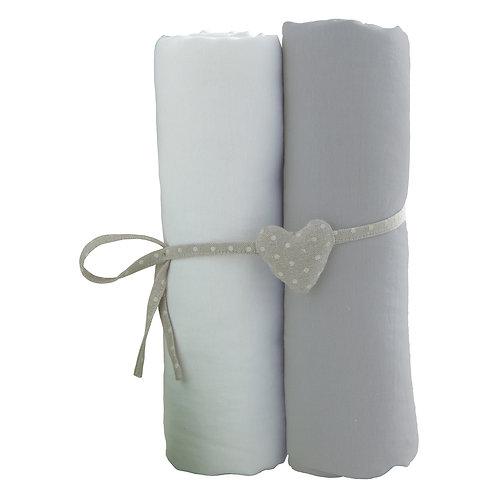 Lot de 2 draps housses 60x120 cm - Blanc + Gris