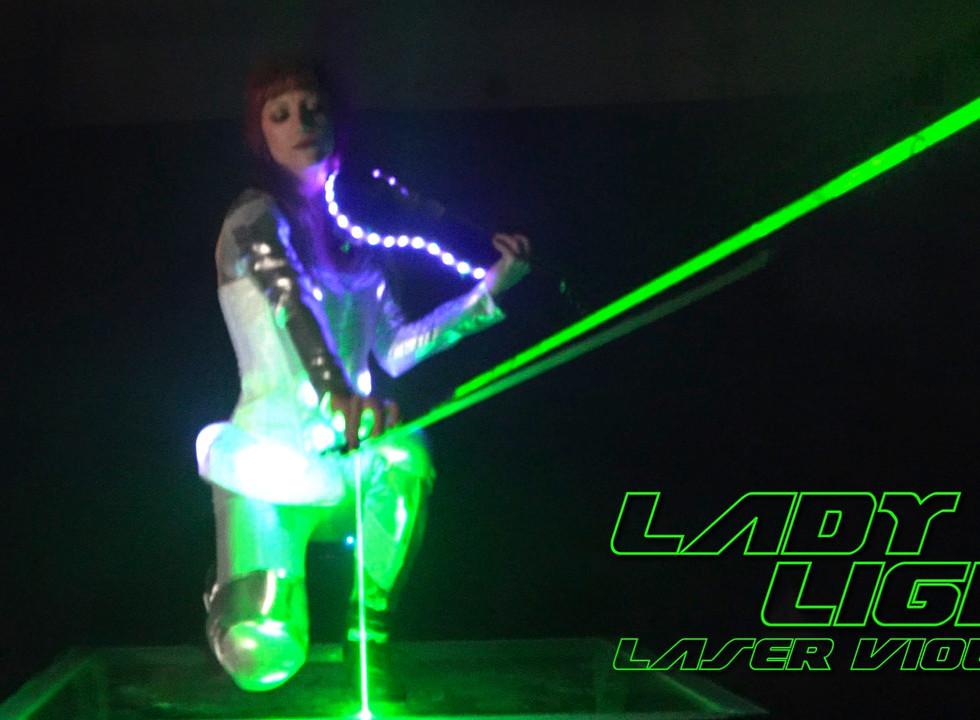 Laser Violin Girl Bends Laser with bow