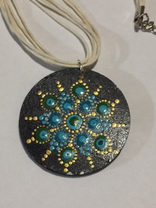Turquoise, Gold and Black Necklace 4cm diameter