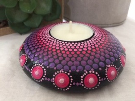 Pink and Purple fine detail Mandala Tealight Candle Holder
