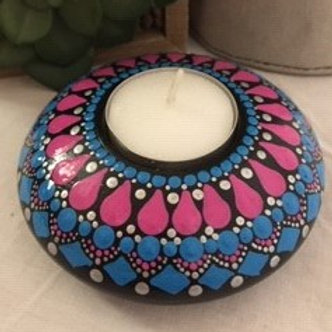 Pink and Blue Mandala Tealight Candle Holder