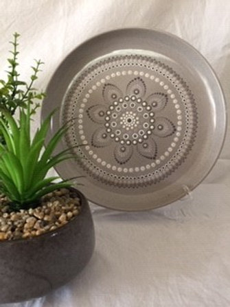26.5cm Fawn, Brown earth tones and  White Food Safe Mandala Platter