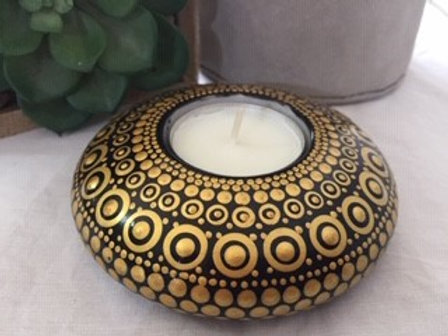 Gold and Black Mandala Tealight Candle Holder