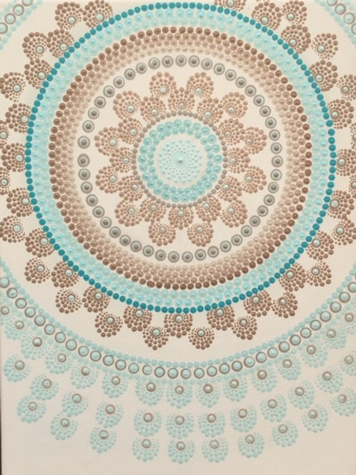 Fawn and Turquoise mandala Canvas 30cm x 40cm x 1.7cm