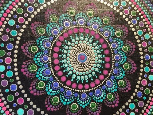 Jewel Tone square  Mandala Canvas 40cm x 40cm x 1.7cm