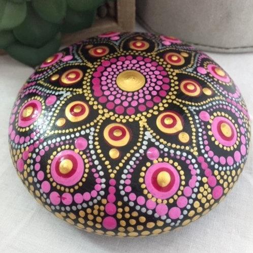 Maroon, Pink and Gold Mandala Talisman Stone