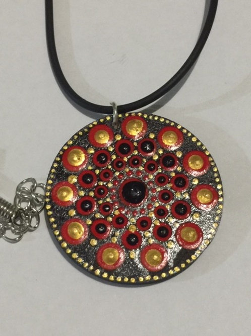 Black, red, gold Necklace 4cm diameter