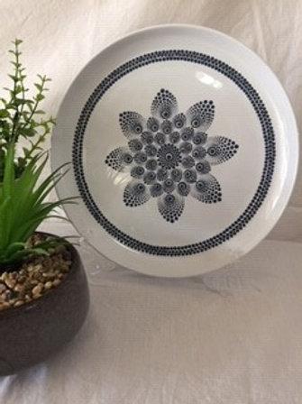 26.5cm Navy and White Food Safe Mandala Platter