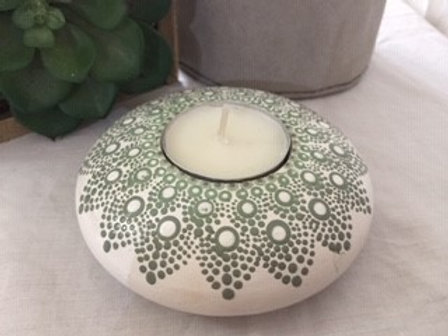 Sage and White Tealight Candle Holder