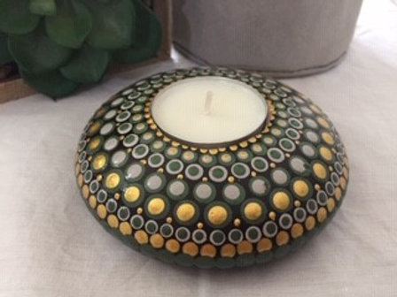 Gold, Grey and Green Tealight Candle Holder