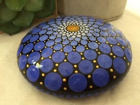 Blue and Gold Mandala Talisman Stone
