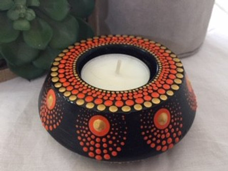 Orange, Black and Gold Tealight Candle Holder