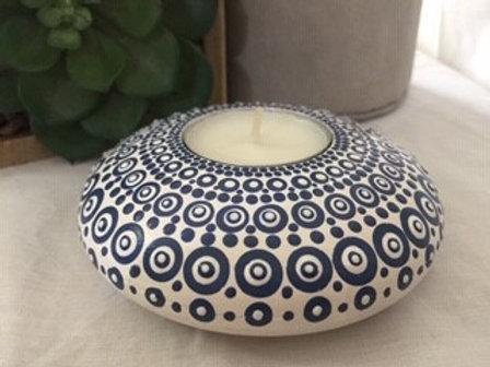 Navy and White Yin Mandala Tealight Candle Holder