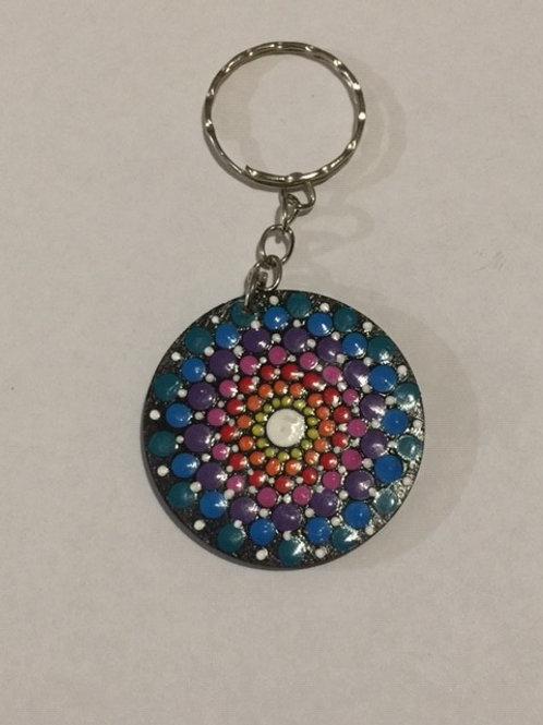 Multicoloured keyring 4cm diameter