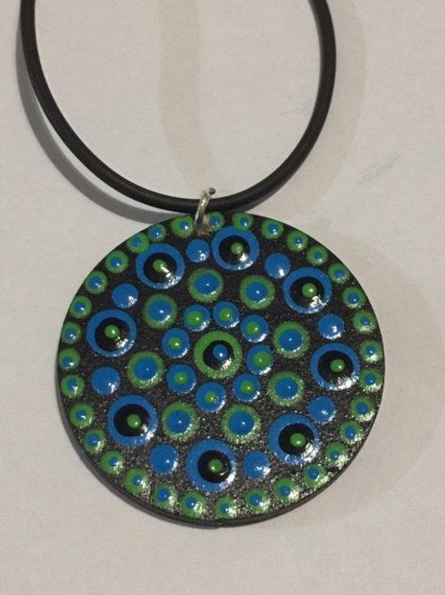 Blue, Green, Black Necklace 4cm diameter