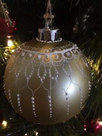 Gold and White henna style Mandala Christmas Bauble