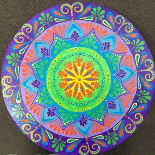 Round 30.5cm Bright Colours on a thin canvas cardboard disc