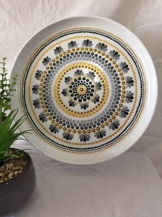Large 34cm Black, Grey, Gold Food Safe Mandala Platter