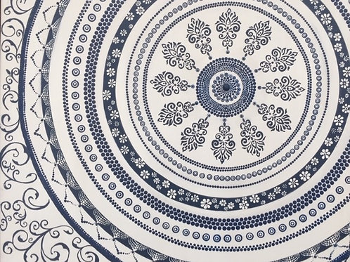 Navy and White French Provincial style Mandala Canvas 50cm x 40cm x 1.7cm