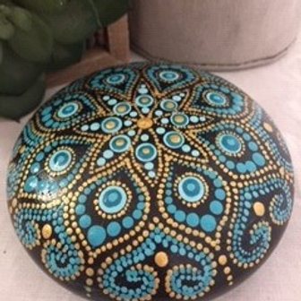 Aqua and Gold Fine Detail Mandala Talisman Stone