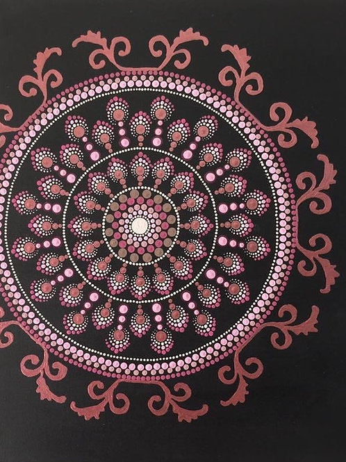 Pink, Rose Gold and Black Mandala Canvas 50cm x 40cm x 1.7c