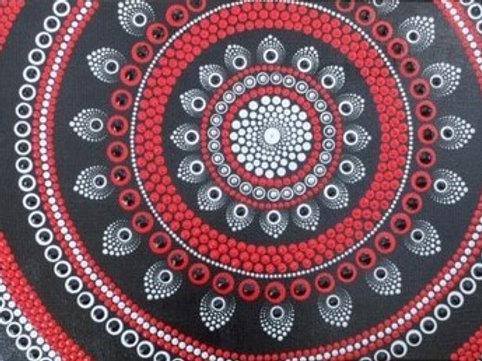 Red, Silver, Black mandala Canvas 40cm x 30cm x 1.7cm