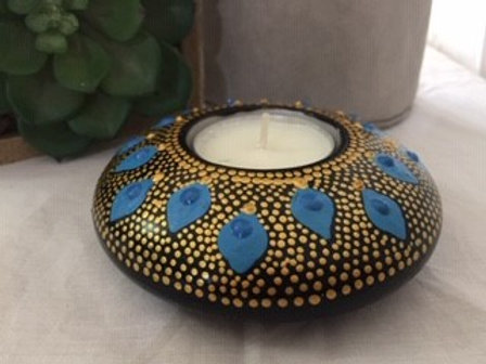 Gold and Blue fine detailed Mandala Tealight Candle Holder