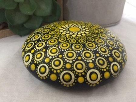 Black, Yellow and White Mandala Talisman Stone