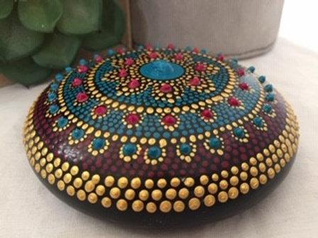 Turquoise, Maroon and Gold Mandala Talisman Stone
