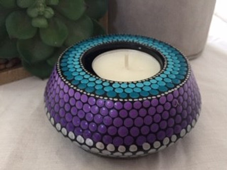 Purple, Turquoise and Silver Tealight Holder