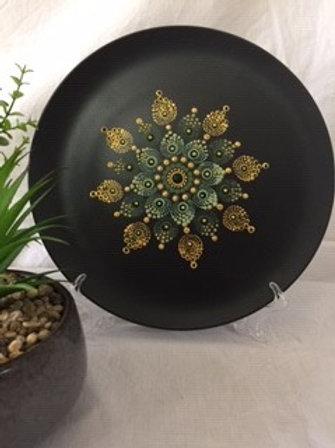 26.5cm Black, Gold and Green Food Safe Mandala Platter