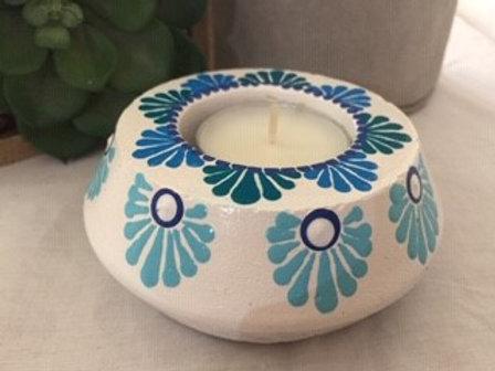 Aqua and White Tealight Candle Holder