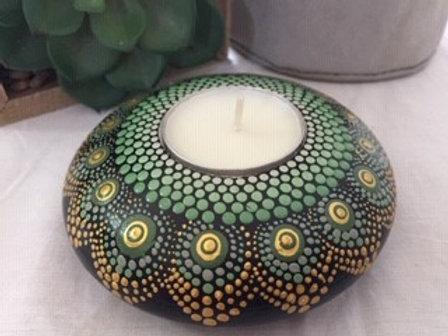 Green and Gold Tealight Candle Holder