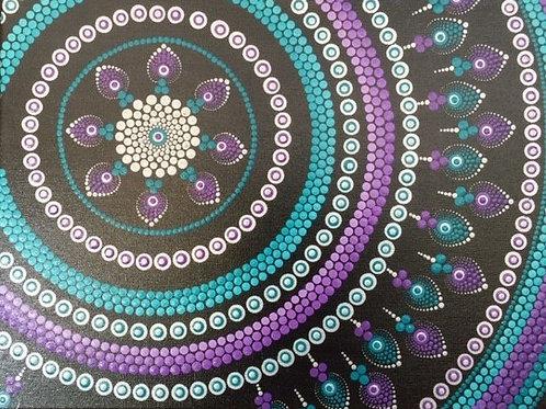 Purple, Turquoise, Silver mandala Canvas 30cm x 40cm x 1.7cm