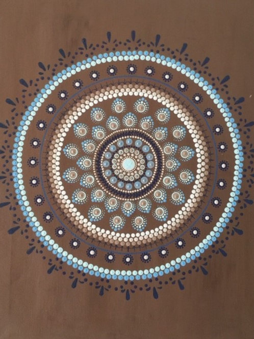 Brown, Sky Blue, Fawn, White Mandala Canva