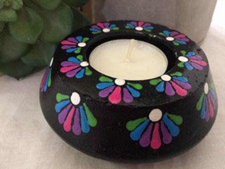 Rainbow and Black Tealight Candle Holder