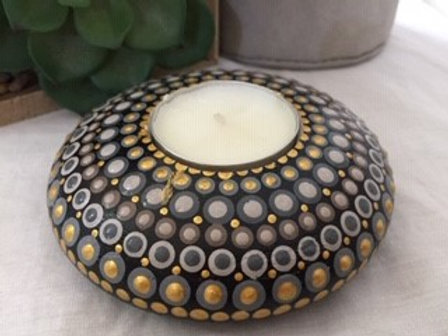 Brown, Gold and Grey Mandala Tealight Candle Holder