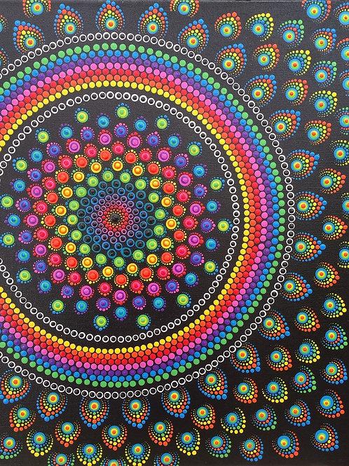 Bright Peacock Mandala 50cm x 40cm x 1.7cm