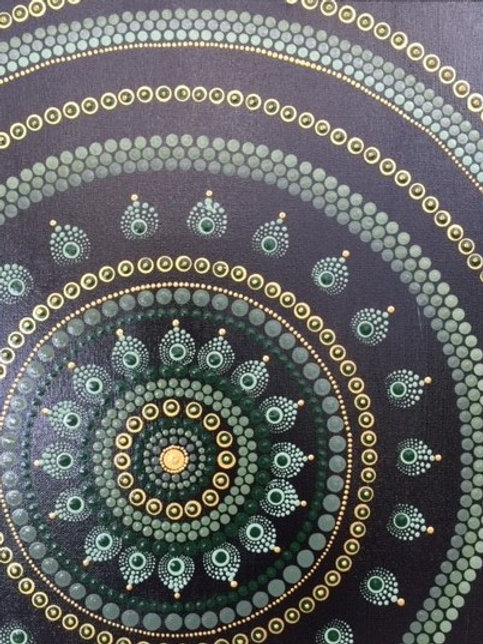 Sage, Gold, Black Mandala Canvas 30cm x 40cm x 1.7cm