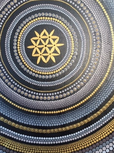 Gold, Grey, Fawn, Black Seed of Life Mandala Canvas 50cm x 40cm x 1.7cm