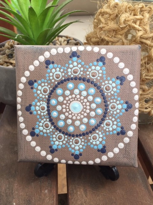 Mini Coastal Mandala Canvas 10cm x 10cm x 1.7cm