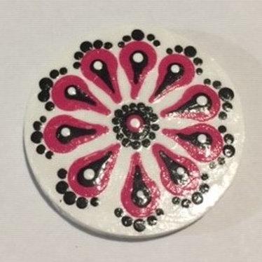 Pink, Black and White fridge magnet 4cm diameter
