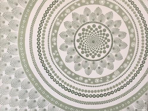Pale Sage mandala Canvas 50cm x 40cm x 1.7cm