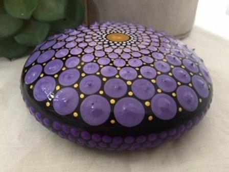 Purple and Gold Mandala Talisman Stone