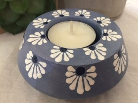 Muted Blue, White and Black Tealight Candle Holder